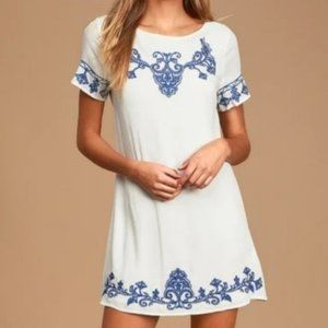 Lulu's   White with Blue Embroidery Shift Dress